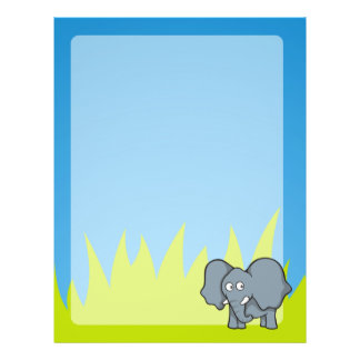 Gray elephant cartoon 21.5 cm x 28 cm flyer