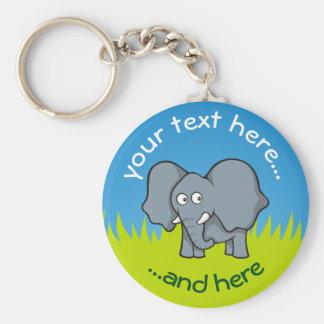 Gray elephant cartoon key ring