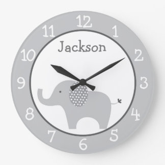 Gray Elephant Nursery Large Clock