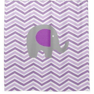 Gray Elephant on Purple, Lavender, White Chevron Shower Curtain