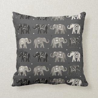Gray Elephant Pattern Linen Look Pillow