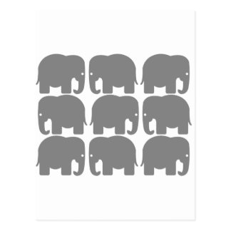 Gray Elephants Silhouette Postcard