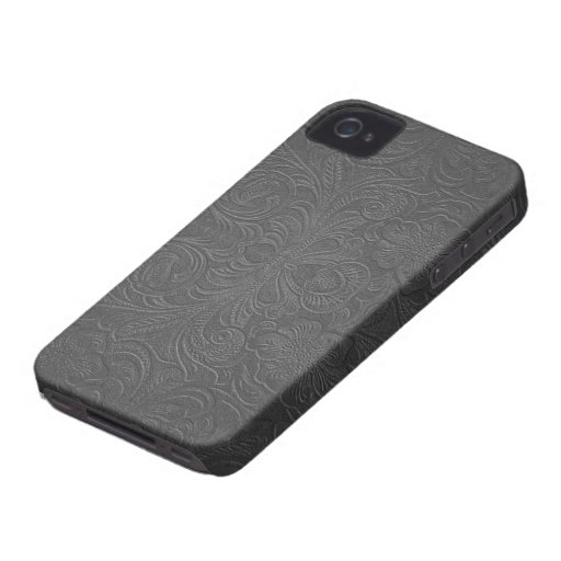Gray Embossed Floral Design Suede Leather Look iPhone 4 Case