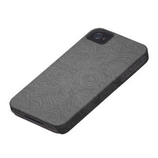 Gray Embossed Floral Design Suede Leather Look Case-Mate iPhone 4 Case