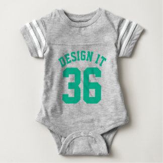 Gray & Emerald Green Baby | Sports Jersey Design Baby Bodysuit
