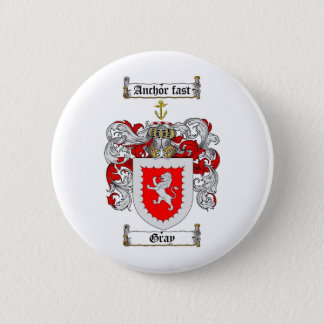 GRAY FAMILY CREST -  GRAY COAT OF ARMS 6 CM ROUND BADGE