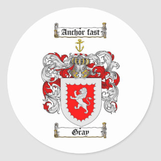 GRAY FAMILY CREST -  GRAY COAT OF ARMS ROUND STICKER