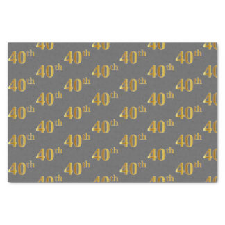 Gray, Faux Gold 40th (Fortieth) Event Tissue Paper