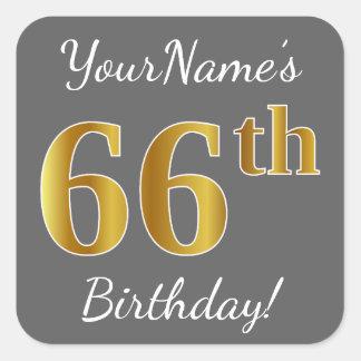 Gray, Faux Gold 66th Birthday + Custom Name Square Sticker