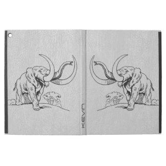 "Gray Faux Leather & Black Elephants Illustration iPad Pro 12.9"" Case"