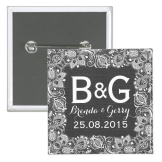 Gray Faux Linen & White Floral Lace Frame 15 Cm Square Badge
