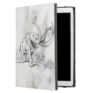 "Gray Faux Marble & Black Elephants Illustration iPad Pro 12.9"" Case"