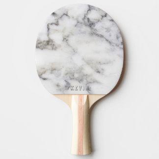 Gray Faux Marble Print Monogram Ping Pong Paddle