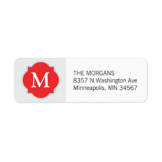 Gray & Firebrick 2 Modern Chevron Custom Monogram Return Address Label