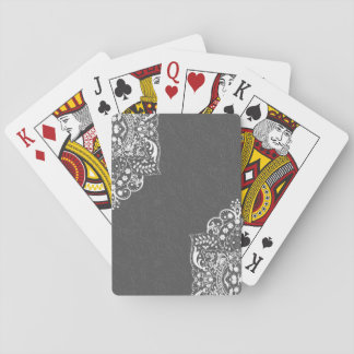 Gray Floral Damask And White Lace Playing Cards