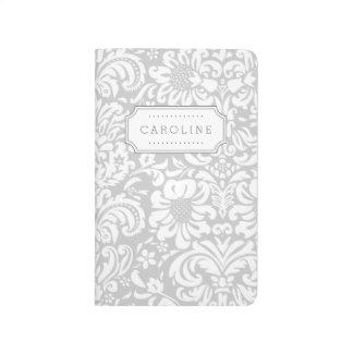 Gray Floral Damask Monogram Journal