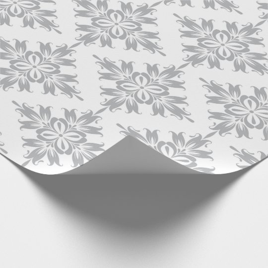 Gray Floral Damask Symmetric Royal Bridal Wedding Wrapping