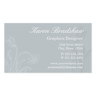 Gray Floral Graphic Designer Business Cards