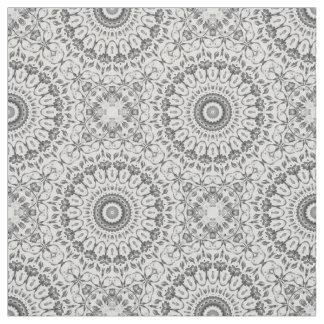 Gray Floral Mandala Pattern Fabric