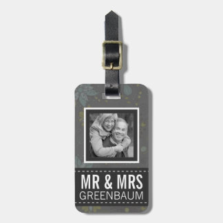 Gray Floral Mr and Mrs Personalized Photo Luggage Tag