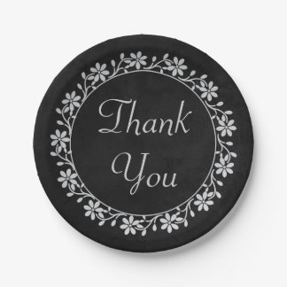 Gray Floral Thank You Black Chalkboard Wedding Paper Plate