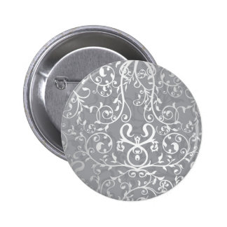 Gray flourish-leafy Design 6 Cm Round Badge