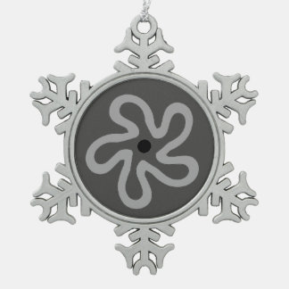 Gray Flower Abstract Pewter Snowflake Ornament
