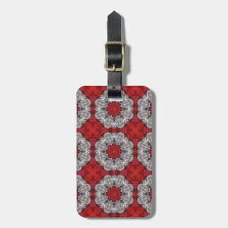 Gray Flower With Red On Textured Red Luggage Tag