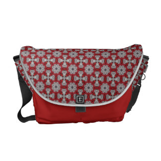 Gray Flowers And Crosses On Textured Red Courier Bag