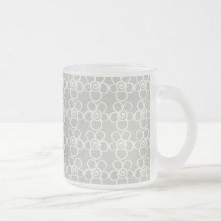 Gray flowers 10 oz frosted glass coffee mug