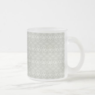 Gray flowers frosted glass mug