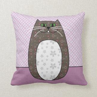 Gray Folk Cat Pillow