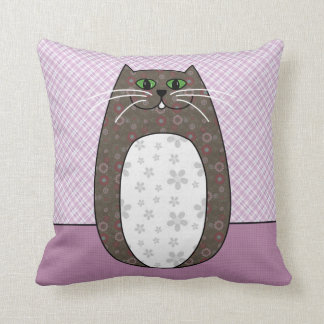 'Gray Folk Cat' Pillow Throw Cushions