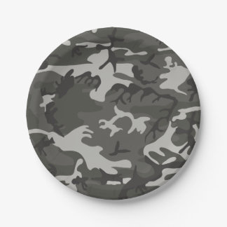Gray Forest Camouflage. Camo your 7 Inch Paper Plate