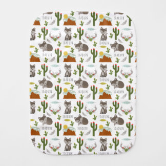 Gray Fox Cactus Desert Burp Cloth