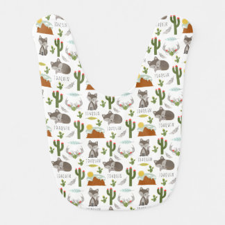 Gray Fox Cactus Desert Pattern Personalized Bib