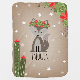 Gray Fox Desert Stars Cactus Baby Blanket Floral
