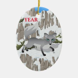 Gray Fox in Winter Ceramic Oval Decoration