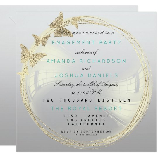 Gray Foxier Golden Bubble Wedding Engagement Ombre Card
