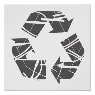 Gray Fractured Recycling Sign