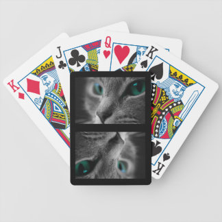 Gray Fur Green Eyed Cat Bicycle Playing Cards