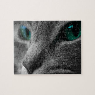 Gray Furred Cat with Striking Green Eyes Jigsaw Puzzle
