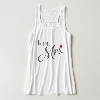 Gray Future Mrs.Top with red heart Elegant Tank Top