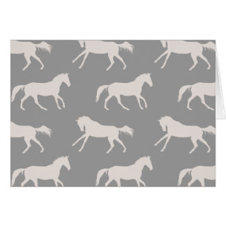 Gray Galloping Horses Pattern Note Card