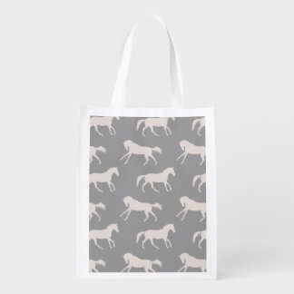 Gray Galloping Horses Pattern Reusable Grocery Bag