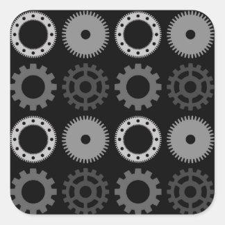 Gray Gears Square Sticker