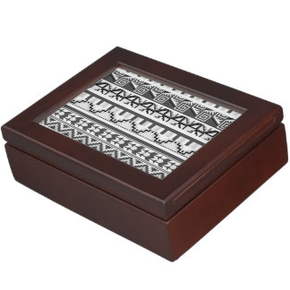 Gray Geometric Abstract Aztec Tribal Print Pattern Keepsake Box