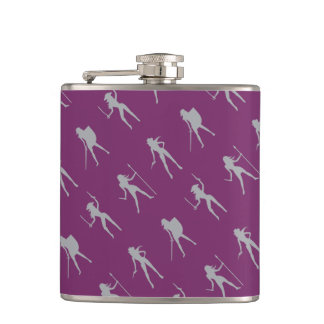 Gray Girls Pattern Vinyl Wrapped Flask