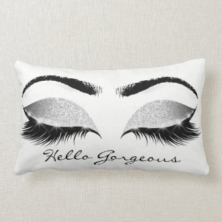 Gray Glitter Black Eyes Silver Makeup Lashes Hello Lumbar Cushion