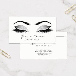 Gray Glitter Makeup Artist Lashes Black White Business Card